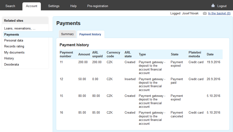 History of payments